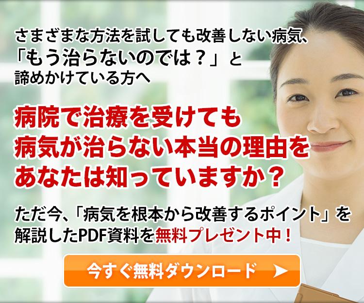 「病気を根本から改善するポイント」を解説したPDF資料を無料プレゼント中!